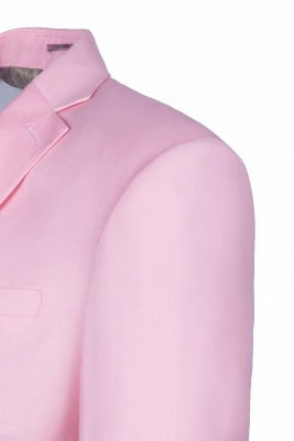 Peak Lapel Candy Pink Single Breasted Wedding Suit For Men_5