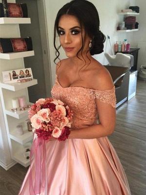 Sleek Satin Cathedral Train Sleeveless Ruffles Off-the-Shoulder Puffy Wedding Dresses_1