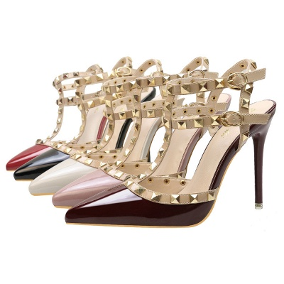 Fashion Pionted Toe High Heel Buckle Hollowout Wedding Shoes with Rivets_4