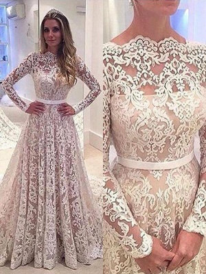 Charming Long Sleeves Court Train Lace Bateau Wedding Dresses_2