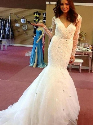 Dramatic Long Sleeves V-neck Sexy Mermaid Beaded Tulle Wedding Dresses_1