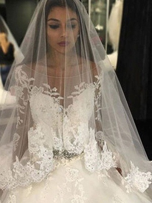 Cathedral Train Applique Scoop Long Sleeves Lace Tulle Puffy Wedding Dresses_3
