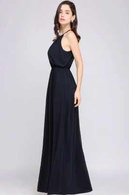 Simple A-Line  Halter Sleeveless Floor-Length Bridesmaid Dresses_3