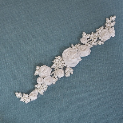 Elegant Satin Flowers Wedding Sash with Beadings_6