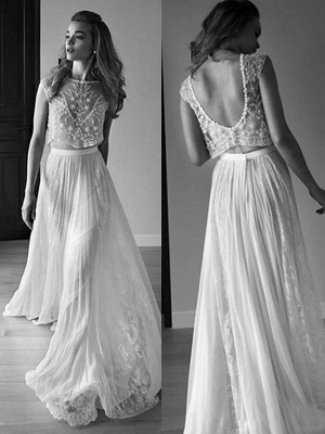 Alluring Tulle Sweep Train Scoop Sleeveless Beaded Wedding Dresses_1