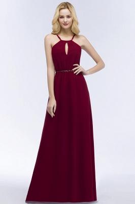 Simple A-Line  Spaghetti Straps Sleeveless Floor-Length Bridesmaid Dresses with Beading Sash_3