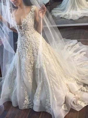 Alluring Court Train Sleeveless Tulle Applique Wedding Dresses_3