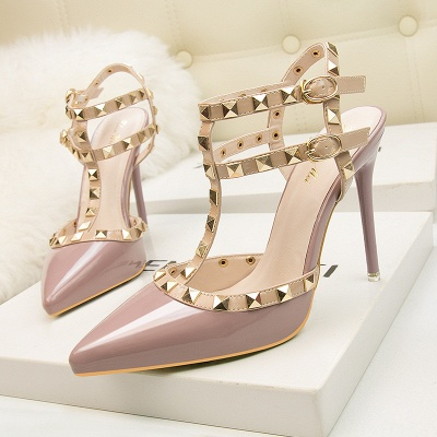 Fashion Pionted Toe High Heel Buckle Hollowout Wedding Shoes with Rivets_2