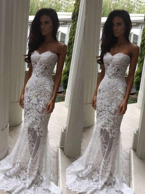 Sweetheart Sexy Mermaid Applique Wedding Dresses | Sleeveless Lace Court Train Bridal Gowns_1