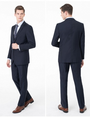 Peak Lapel Two Pieces with Pants Two Button Comfortable Casual Suits_7
