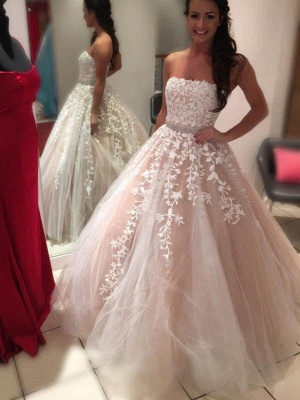 Charming Court Train Strapless Sleeveless Tulle Puffy Applique Wedding Dresses_1