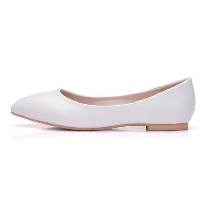 Woman Round Toe PU Flat Wedding Shoes_5