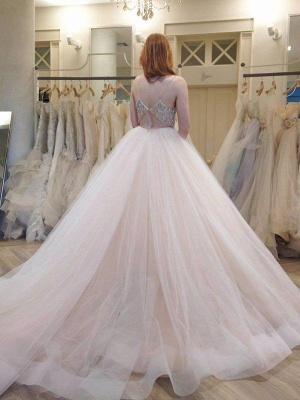 Puffy Crystal Tulle Wedding Dresses | Spaghetti Straps Sleeveless Court Train Bridal Gowns_3