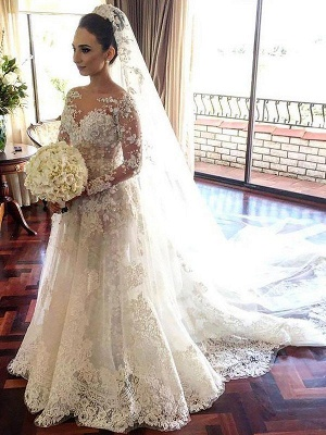 Shabby Chic Bateau Tulle Lace Long Sleeves Chapel Train Wedding Dresses_1