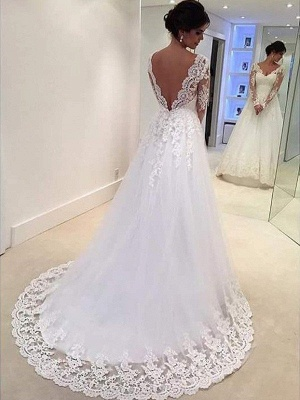 V-neck Puffy Tulle Long Sleeves Court Train Lace Wedding Dresses_3