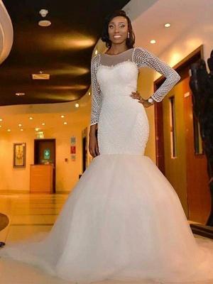 Sleek  Sweep Train Beaded Scoop Long Sleeves Sexy Mermaid Tulle Wedding Dresses_3