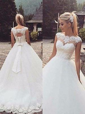 Tulle Puffy Bateau Lace Sleeveless Wedding Dresses_1