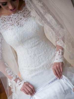 Dazzling Off-the-Shoulder Tulle Long Sleeves Sexy Mermaid Lace Wedding Dresses_6