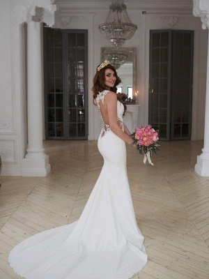 Sexy Mermaid Lace Wedding Dresses | Sweep Train Applique Sleeveless Scoop Bridal Gowns_3
