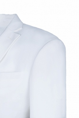 High Quality White Back Vent Two Button Casual Suit Groomsmen Peak Lapel_5