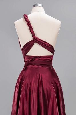Elegant Long Burgundy Satin One Shoulder Bridesmaid Dresses_12