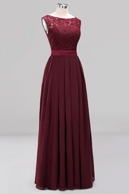 Simple A-Line Chiffon Bridesmaid Dresses | Scoop Sleeveless Lace Appliques Maid of the Honor Dresses_11