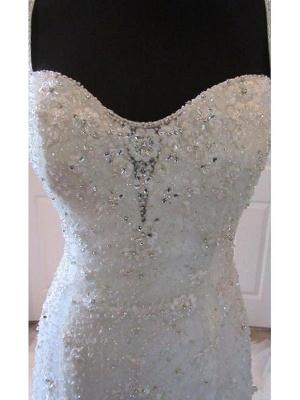 Straps Court Train Sleeveless Tulle Sexy Mermaid Wedding Dresses_4