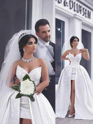 Sleeveless Chapel Train Sweetheart Beaded Satin Puffy Wedding Dresses_1