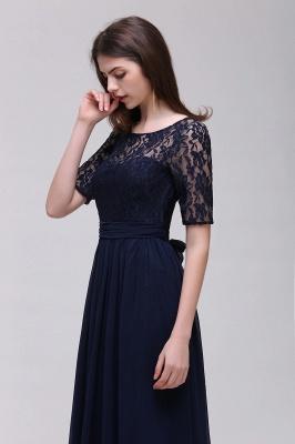 Elegant A-line  Lace Scoop Half-Sleeve Floor-Length Bridesmaid Dress_4