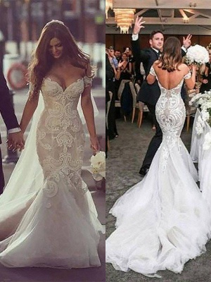 Off-the-Shoulder Tulle Chapel Train Sleeveless Sexy Mermaid Wedding Dresses_4