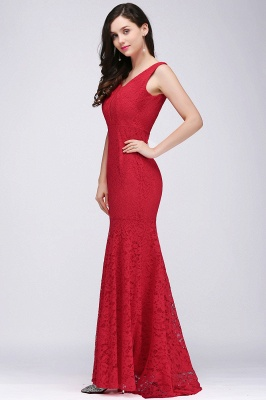Elegant Mermaid Lace V-Neck Sleeveless Floor-Length Bridesmaid Dresses_4