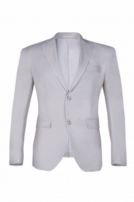 Fashion Peak Lapel Silver Single Breasted Wedding Suit For Men Back Vent_1