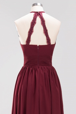 Simple A-Line Chiffon Bridesmaid Dresses | Halter Ruched Hollow Back Maid of The Honor Dresses_11