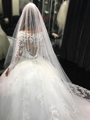 Cathedral Train Applique Scoop Long Sleeves Lace Tulle Puffy Wedding Dresses_4