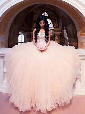 Dazzling Tulle Sweep Train Puffy Sweetheart Beaded Wedding Dresses_1