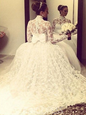 Glamorous High Neck Lace Long Sleeves Wedding Dresses | Cathedral Train Ribbon Puffy Bridal Gowns_3