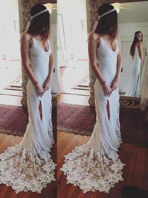 Sleek Straps Column Court Train Lace Sleeveless Wedding Dresses_1