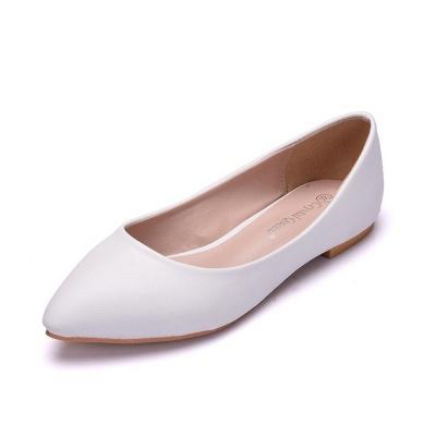 Woman Round Toe PU Flat Wedding Shoes_3