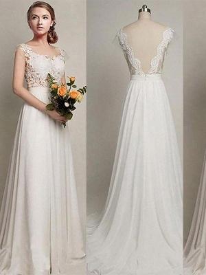 Charming Scoop Sweep Train Sleeveless Chiffon Wedding Dresses_1