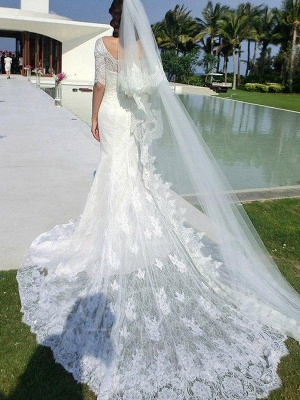 Applique Square Cathedral Train Sexy Mermaid Lace 1/2 Sleeves Wedding Dresses_3