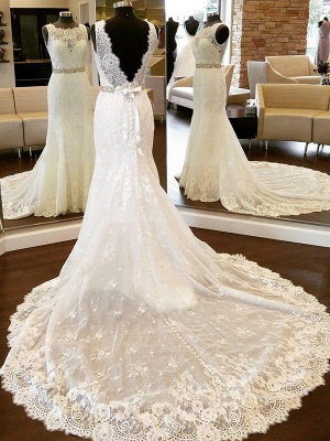 Sleek Chapel Train Scoop Sleeveless Column Lace Wedding Dresses with Bowknot_1