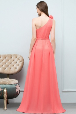 A-line  One-Shoulder Sleeveless Floor-Length Bridesmaid Dress with Bow Sash_2