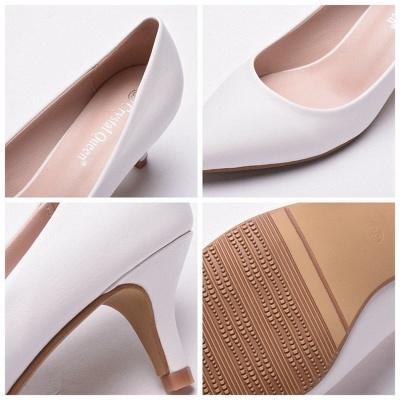 Fashion Pionted Toe PU Kitten Heel Wedding Shoes_8