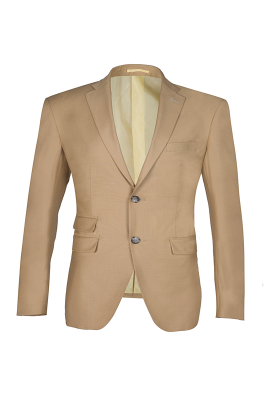 High Quality Two Button Nude Color Back Vent Peak Lapel Bridegroom_1