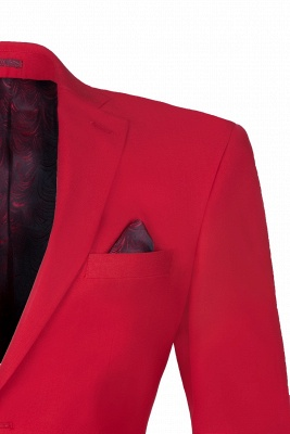 Customize Red Two Button High Quality Back Vent Wedding Suit_3