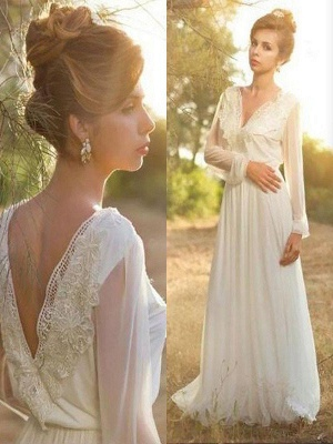 Sweep Train Chiffon Long Sleeves V-neck Lace Wedding Dresses_1