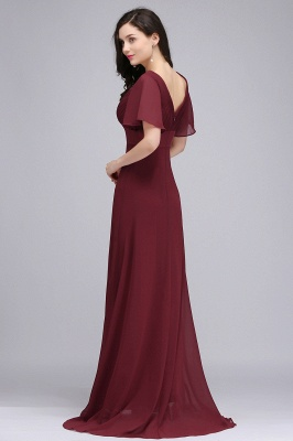 Simple A-Line  V-Neck Short-Sleeves Ruffles Floor-Length Bridesmaid Dresses_5