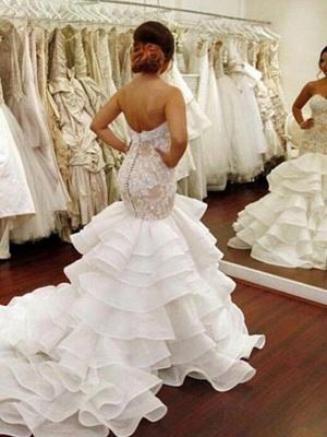 Chapel Train Organza Lace Sexy Mermaid Wedding Dresses | Ruffles Sweetheart Applique Bridal Gowns_3