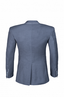 Silver Single Breasted Peak Lapel Wedding Suit For Men Back Vent Fashion_3