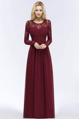 Elegant A-Line  Jewel Long Sleeves Ruffles Floor-Length Bridesmaid Dresses_1